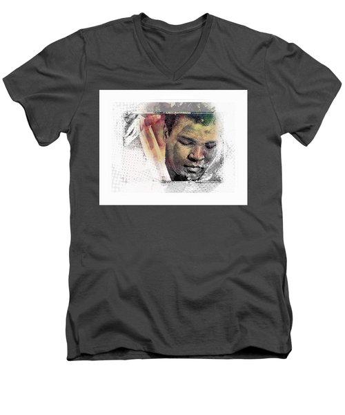 Men's V-Neck T-Shirt featuring the photograph Muhammad Ali by Allen Beilschmidt