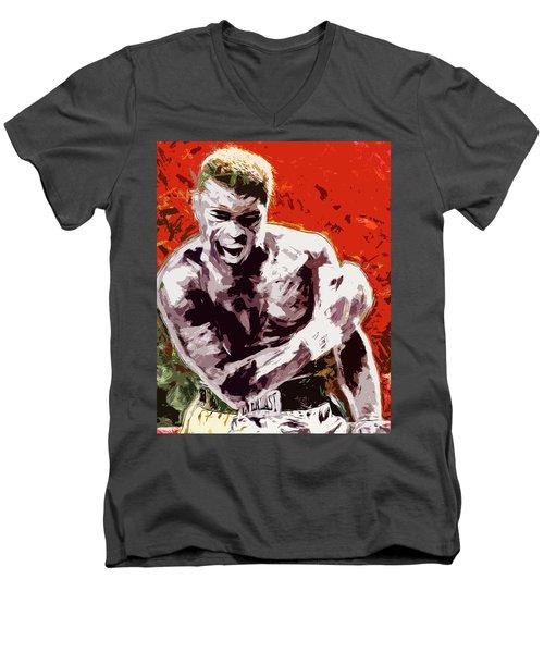 Muhammed Ali Boxing Champ Digital Paintng Men's V-Neck T-Shirt by David Haskett