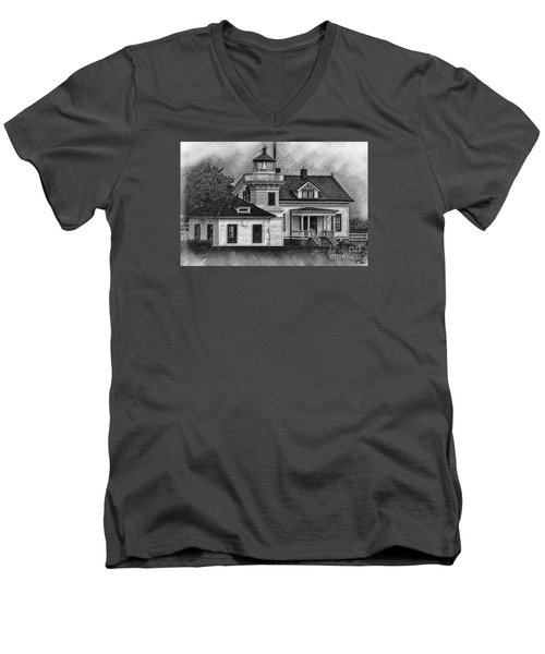 Mukilteo Lighthouse Sketched Men's V-Neck T-Shirt