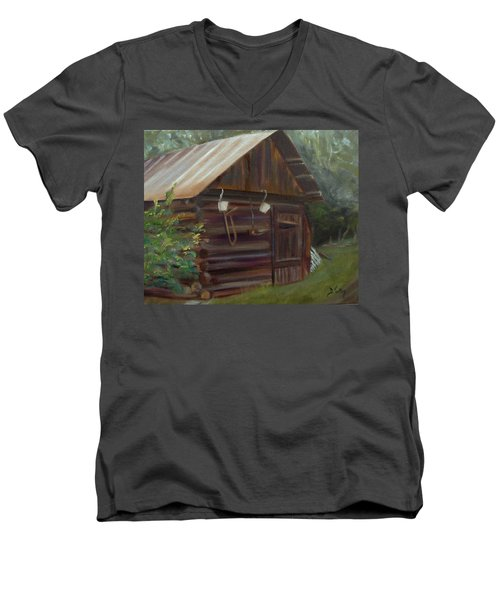 Men's V-Neck T-Shirt featuring the painting Mulberry Farms Grainery by Donna Tuten