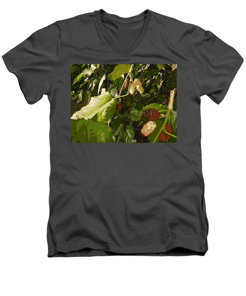 Men's V-Neck T-Shirt featuring the digital art Mulberry Moment by Winsome Gunning