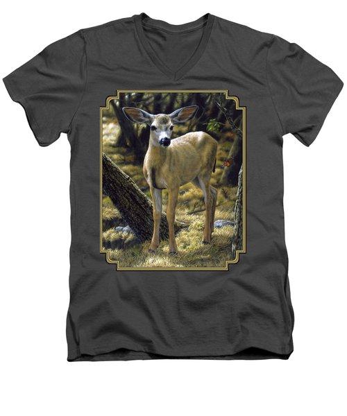 Mule Deer Fawn - Monarch Moment Men's V-Neck T-Shirt