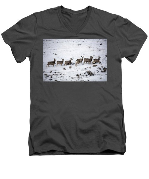 Muledeer Gather On A Snowy Hillside In Sweetwater County In Wyoming Men's V-Neck T-Shirt by Carol M Highsmith