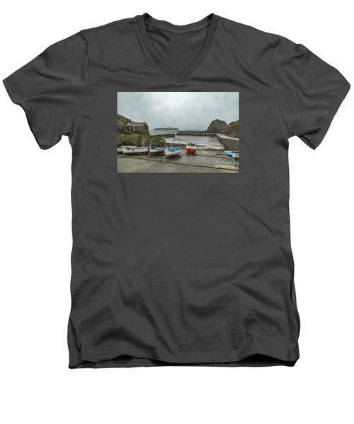 Men's V-Neck T-Shirt featuring the photograph Mullion Cove Harbour by Brian Roscorla