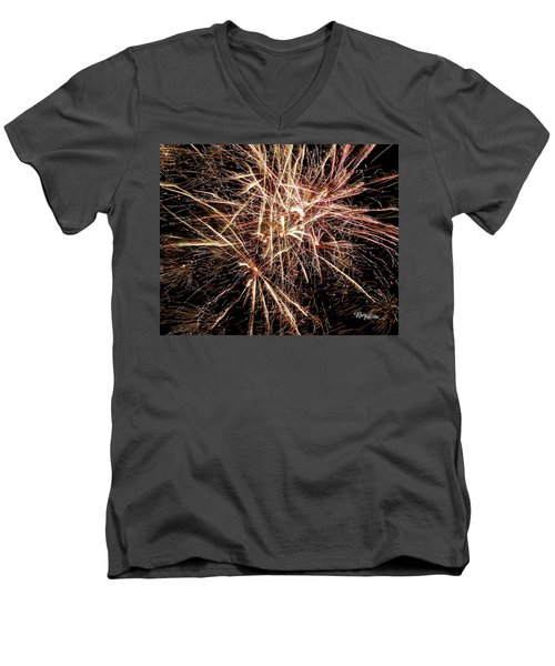 Men's V-Neck T-Shirt featuring the photograph Multi Blast Fireworks #0721 by Barbara Tristan