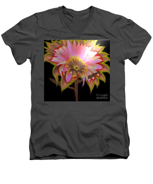 Multi Color Daisy Men's V-Neck T-Shirt by Belinda Threeths