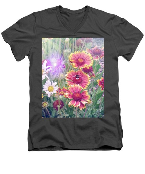 Multi Coloured Flowers With Bee Men's V-Neck T-Shirt by Lynn Bolt