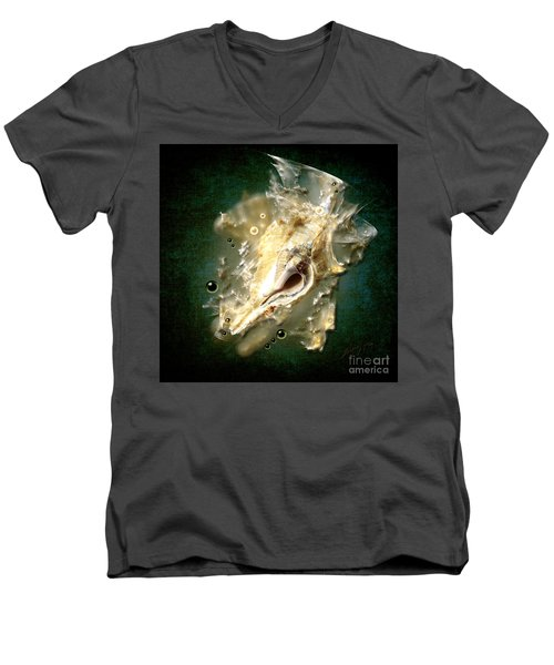 Men's V-Neck T-Shirt featuring the painting Multidimensional Finds by Alexa Szlavics
