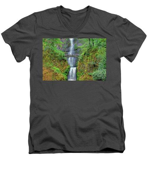 Multnomah Falls 2  Men's V-Neck T-Shirt