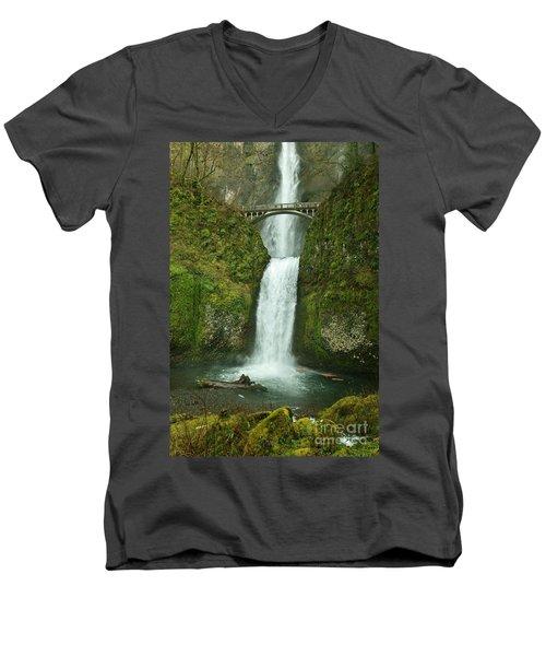Multnomah Falls Men's V-Neck T-Shirt by Sheila Ping