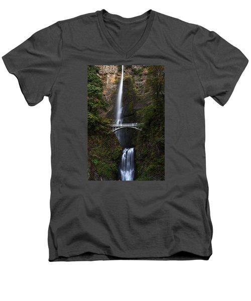 Multonomah Falls Men's V-Neck T-Shirt by John Gilbert