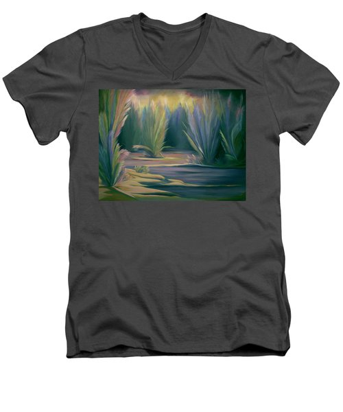 Men's V-Neck T-Shirt featuring the painting Mural Field Of Feathers by Nancy Griswold
