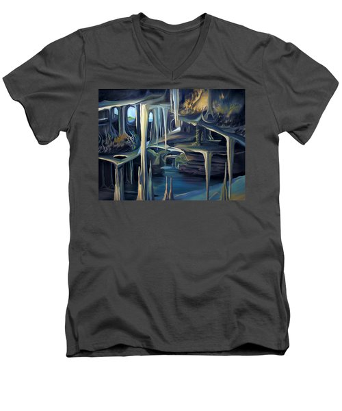 Mural Ice Monks In November Men's V-Neck T-Shirt