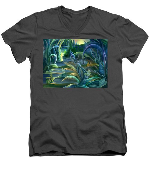 Mural  Insects Of Enchanted Stream Men's V-Neck T-Shirt