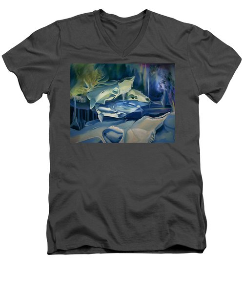 Men's V-Neck T-Shirt featuring the painting Mural Skulls Of Lifes Past by Nancy Griswold