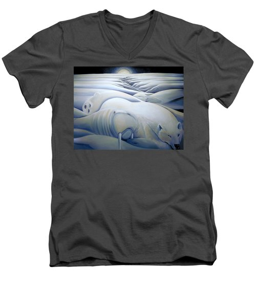 Men's V-Neck T-Shirt featuring the painting Mural  Winters Embracing Crevice by Nancy Griswold