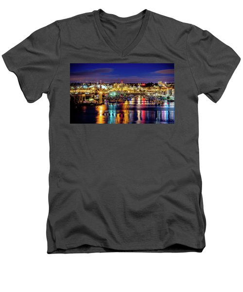 Murray Morgan Bridge View During Blue Hour In Hdr Men's V-Neck T-Shirt