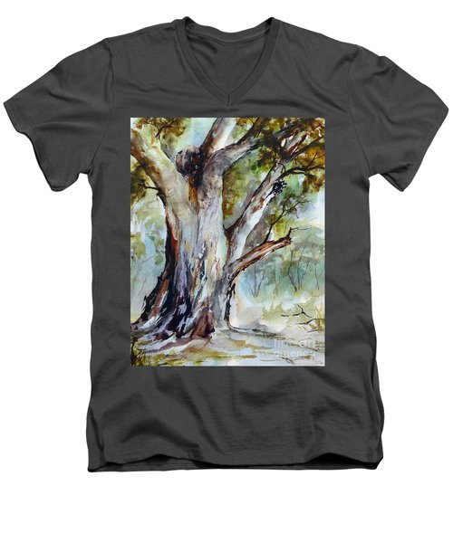 Men's V-Neck T-Shirt featuring the painting Murray River Gum, Cobram. by Ryn Shell