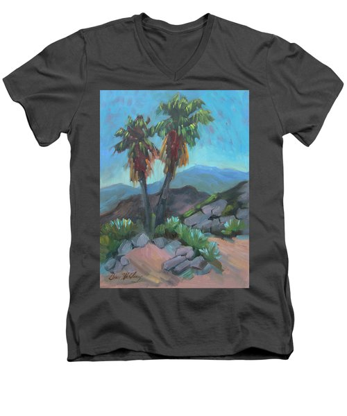 Men's V-Neck T-Shirt featuring the painting Murray Trail Andreas Canyon by Diane McClary