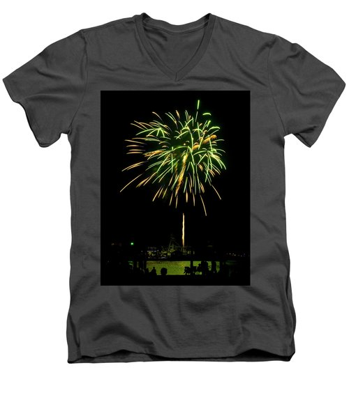 Men's V-Neck T-Shirt featuring the photograph Murrells Inlet Fireworks by Bill Barber