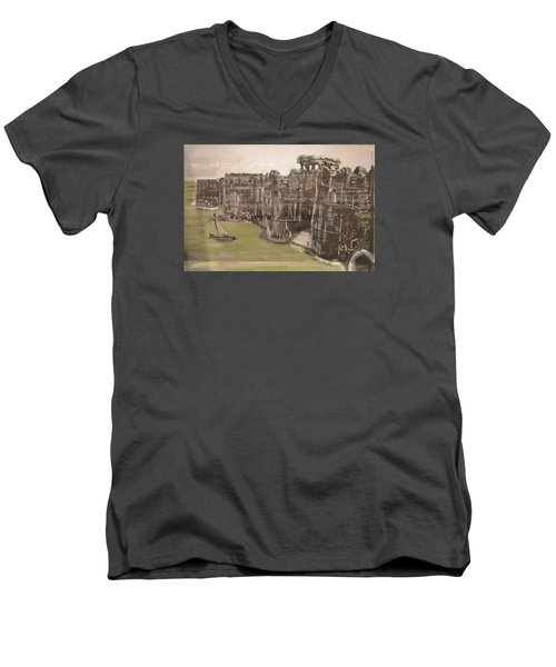 Men's V-Neck T-Shirt featuring the painting Murud Janjira Fort by Vikram Singh