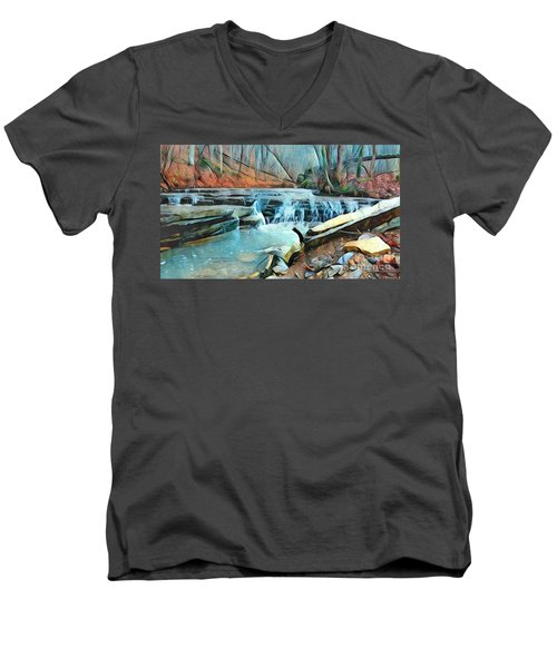 Muscatatuck Falls Touch Of Blue Abstract Men's V-Neck T-Shirt