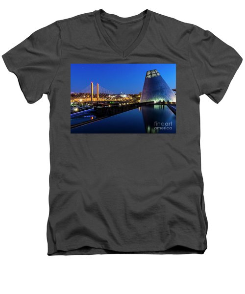 Museum Of Glass At Blue Hour Men's V-Neck T-Shirt