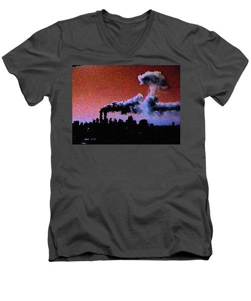 Men's V-Neck T-Shirt featuring the digital art Mushroom Cloud From Flight 175 by James Kosior