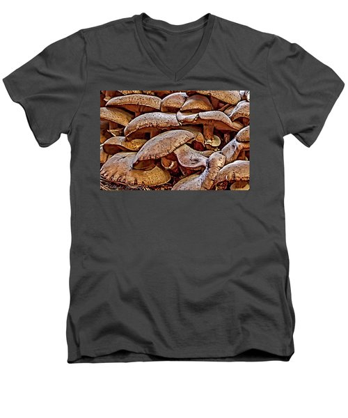 Men's V-Neck T-Shirt featuring the photograph Mushroom Colony by Bill Gallagher
