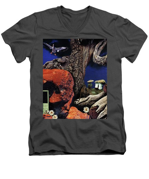Mushroom People - Collage Men's V-Neck T-Shirt by Linda Apple