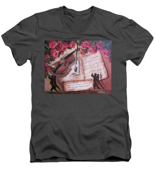 Music And Roses Men's V-Neck T-Shirt