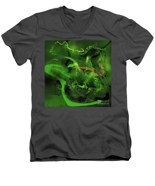 Men's V-Neck T-Shirt featuring the painting Music In Green by S G
