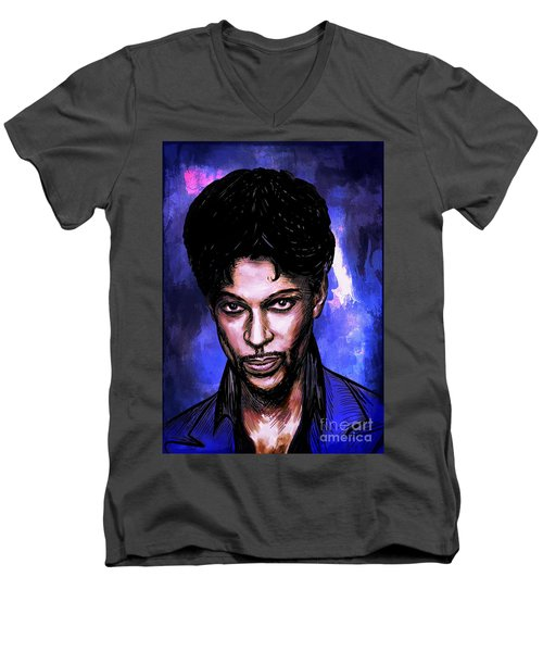 Men's V-Neck T-Shirt featuring the painting Music Legend  Prince by Andrzej Szczerski