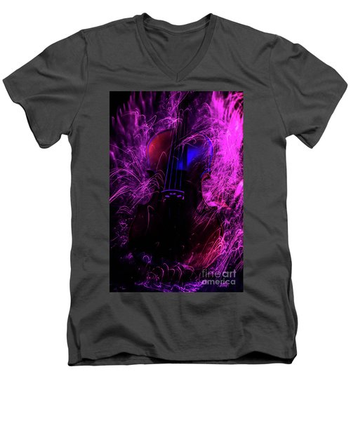 Music Light Painting  Men's V-Neck T-Shirt