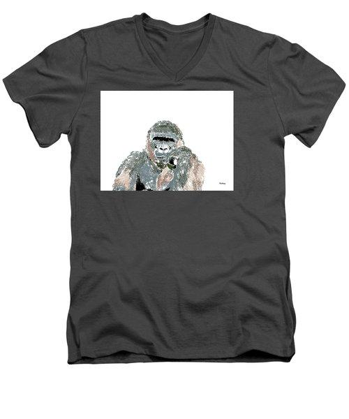 Men's V-Neck T-Shirt featuring the digital art Music Notes 23 by David Bridburg