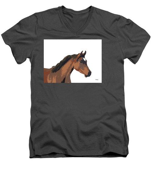 Men's V-Neck T-Shirt featuring the digital art Music Notes 26 by David Bridburg