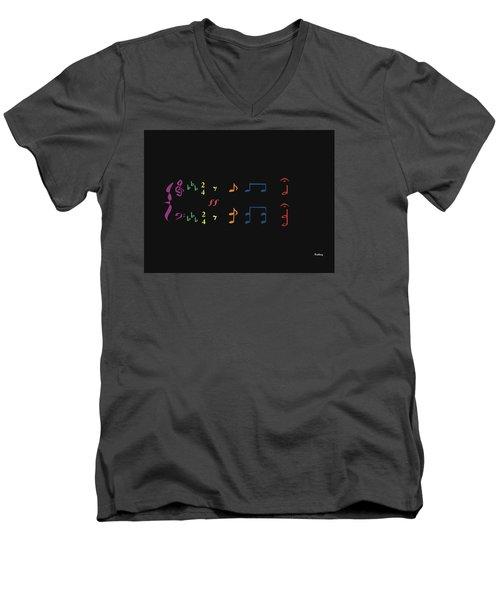 Men's V-Neck T-Shirt featuring the digital art Music Notes 35 by David Bridburg