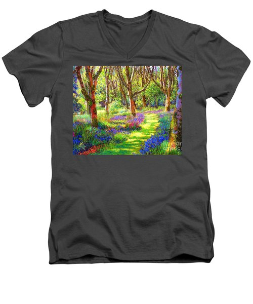 Men's V-Neck T-Shirt featuring the painting Music Of Light, Bluebell Woods by Jane Small