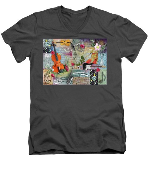 Musical Garden Collage Men's V-Neck T-Shirt
