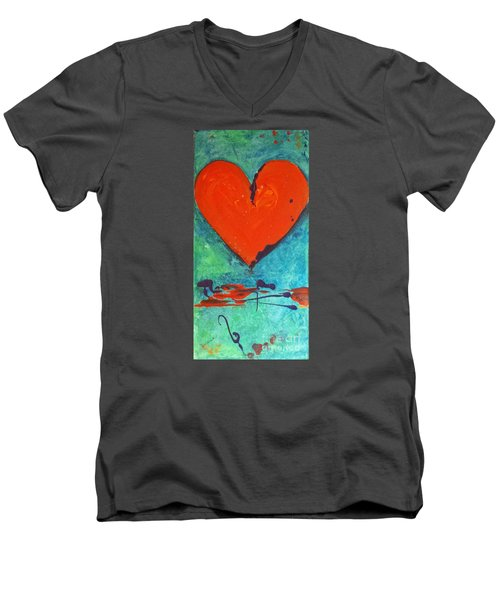 Men's V-Neck T-Shirt featuring the painting Musical Heart by Diana Bursztein