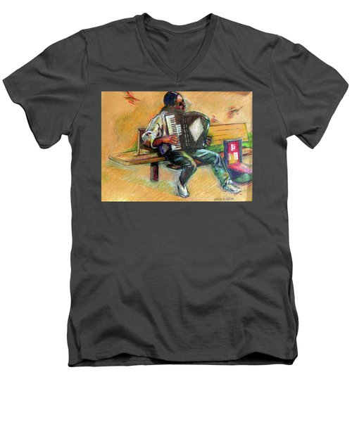 Men's V-Neck T-Shirt featuring the drawing Musician With Accordion by Stan Esson