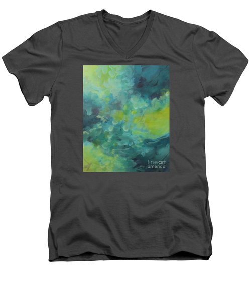 Men's V-Neck T-Shirt featuring the painting Musing 117 by Elis Cooke