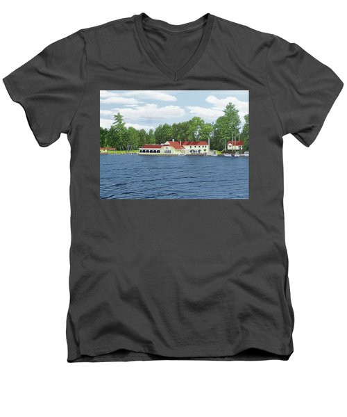 Men's V-Neck T-Shirt featuring the painting Muskoka Lakes Golf And Country Club by Kenneth M Kirsch
