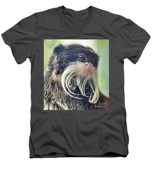 Mustache Monkey Watching His Friends At Play Men's V-Neck T-Shirt by Jim Fitzpatrick