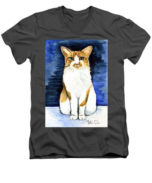 Mustached Bicolor Beauty - Cat Portrait Men's V-Neck T-Shirt