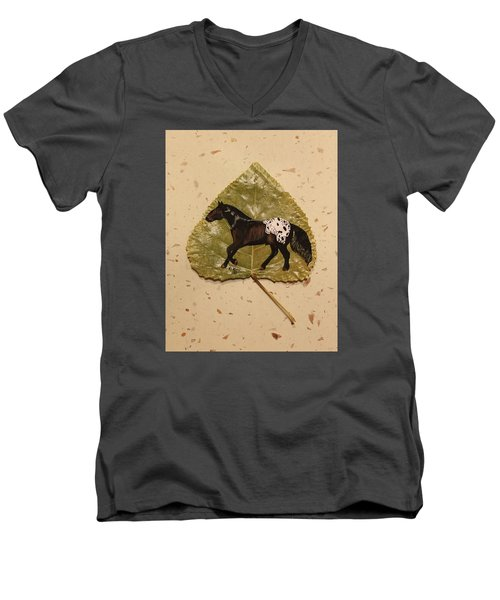 Mustang Appaloosa On Poplar Leaf Men's V-Neck T-Shirt