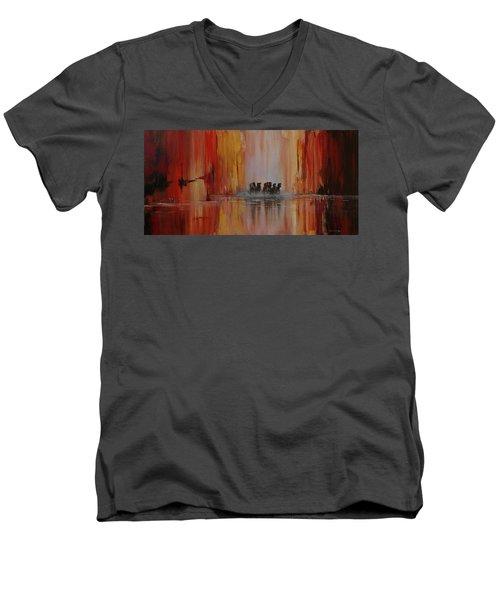 Mustang Canyon Men's V-Neck T-Shirt by Karen Kennedy Chatham