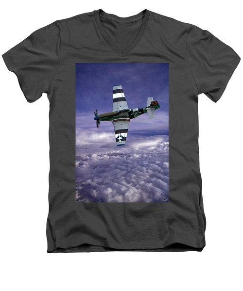 Mustang On Patrol Men's V-Neck T-Shirt