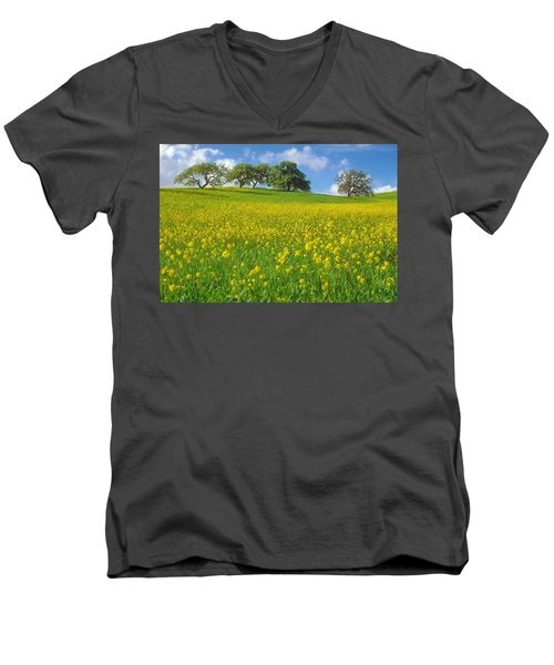 Men's V-Neck T-Shirt featuring the photograph Mustard Field by Mark Greenberg