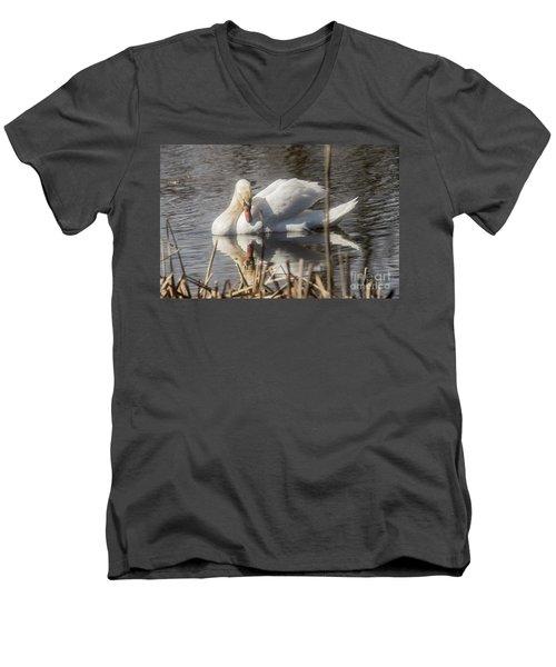 Men's V-Neck T-Shirt featuring the photograph Mute Swan - 3 by David Bearden
